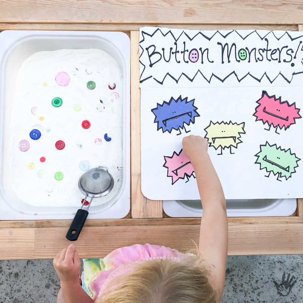 Sensory Bin with Buttons   Button Monsters